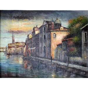 Italy Seaside City Scene Oil Painting Large 3x4 Landscape: Home