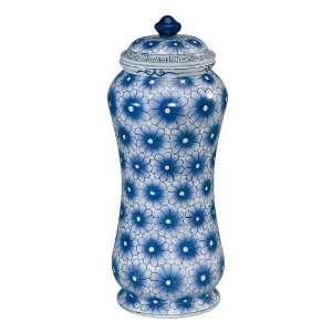 Hand Painted Porcelain Jar in Blue Flower Pattern