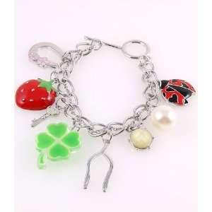 Fashion Jewelry Charm Bracelet with Acrylic Jewelry and Pearl Silver