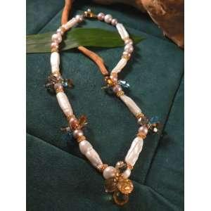 Biwa Pearl & Crystal Cluster Necklace