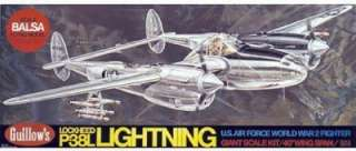 Balsa Giant wood airplane model kit Guillows P 38 Lightning
