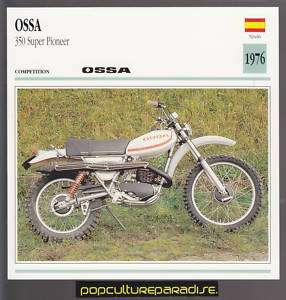 1976 OSSA 350 SUPER PIONEER Spain Motorcycle SPEC CARD