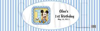 Baby Mickey Mouse 1st Birthday #2 WATER BOTTLE LABELs