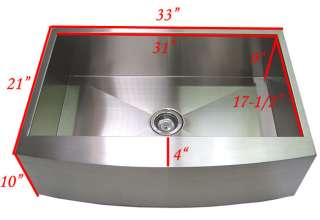 33 Stainless Steel Curve Apron Kitchen Farm Sink Combo