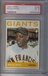 1964 WILLIE MAYS CARD TOPPS #150 PSA GRADED EX 5 SAN FRANCISCO GIANTS