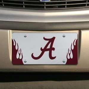 Alabama Crimson Tide Silver Mirrored Flame License Plate Automotive