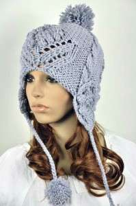 All Hand Knit Wool Lady Winter Ski Hat Cap Vintage Floral String Ball