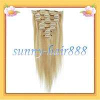 15 7pcs clips in Real human hair Extensions#18/613 mixed colors &70g