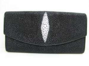 Genuine Black Stingray Skin Leather Clutch Purse Wallet