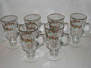 CHRISTMAS IRISH COFFEE MUGS WITH HOLLY LEAVES AND GILDED RIM SET OF 6