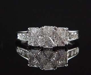 MAGICAL ESTATE INVISIBLE SET 2CT TRILLION DIAMOND THREE STONE RING 14K