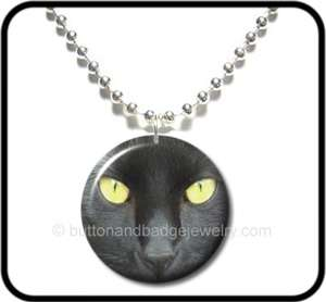 BLACK CAT* Scary Yellow Eyes Halloween Button NECKLACE