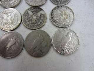 20) Circulated MORGAN & PEACE SILVER DOLLARS Various Dates 90% US worn