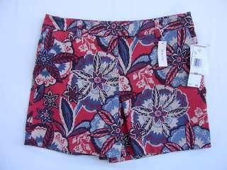 Jones New York Sport Petite Stretch Shorts Red/Blue NEW