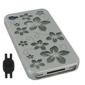 Silver Flower Design Rubberized Hard Case for Apple iPhone