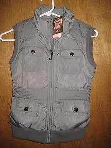 Couture Girls Sz 8 Grey Slate Sleeveless PUFFER Vest / Ski Jacket