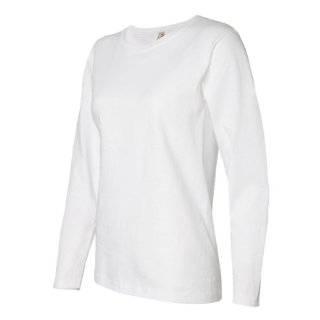 Ladies White Plain Long Sleeve T Shirt Crew Neck Clothing