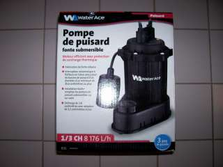 ACE 1/3 HP Cast Iron Submersible Sump Pump R3S 24430D500 NEW IN BOX