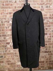 black wool herringbone tweed long over coat velvet collar gangster M L