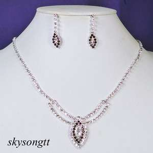 Swarovski Amethyst Rhinestone Clear Crystal Pendant Necklace Earrings