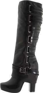 JESSICA SIMPSON Gilly BLACK Tall Knee Boots Platform Leather Womens
