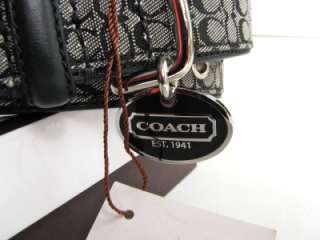 NEW COACH BLACK SIGNATURE C LEATHER DOG COLLAR NIB LARGE L