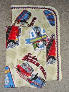 CRIB/TODDLER BLANKET&PILLOWCASE THOMAS TRAIN PATCHES