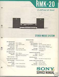 Original Sony Service Manual HMK 20 Music System