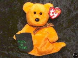 Ty Halloween Beanie Babies   Haunted the Ghost Bear NEW