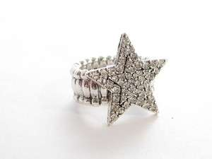 Star Clear Crystal Stretch Ring Fashion Jewelry