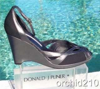 Donald Pliner ~$260 ~COUTURE~ BLACK PEWTER LEATHER~ WEDGE Shoe NIB