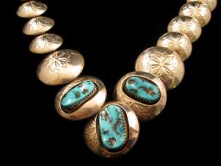 VINTAGE NAVAJO STAMPED STERLING SILVER TURQUOISE PILLOW BEAD NECKLACE