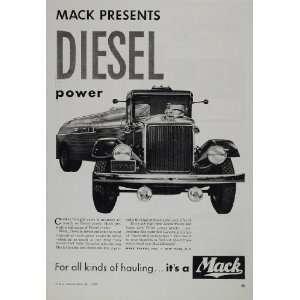 1938 Ad Vintage Mack Diesel Power Truck Tanker B/W