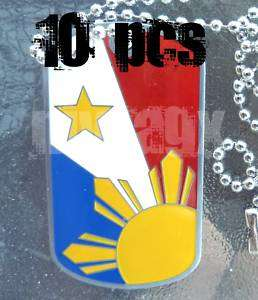 10x Lot  Philippine Dog Tag Filipino Flag Sun SHIMMER