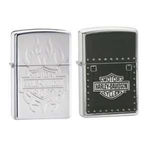 Zippo Lighter Set   Harley Davidson Tattoo Armor and Saddle Bag Emblem