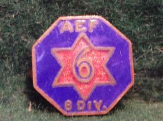 WWI American Expeditionary Force 6th Division Enamel Pin