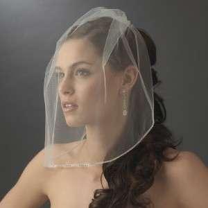 Ivory Birdcage Face Bridal Veil Rhinestone Edge