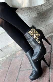 Womens Ladies Studded Back zip High Heels Platform Ankle Boots Booties