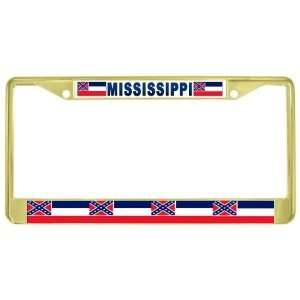 Mississippi Ms State Flag Gold Tone Metal License Plate