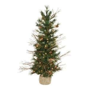 Country Pine Christmas Tree in Burlap   Clear Lights