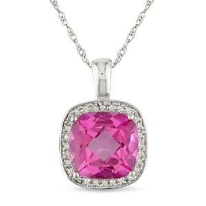 10k White Gold, Diamond and Pink Sapphire Pendant with Chain, (.01