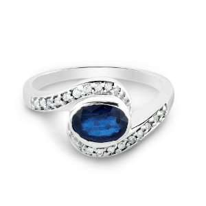 14k White Gold Promise Ring with Oval Cut Sapphire and