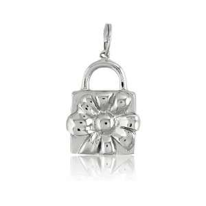 Sterling Silver Flower Lock Christmas Charm Jewelry