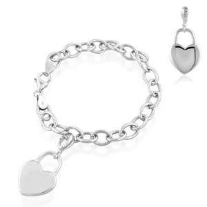 Sterling Silver Heart Lock Charm Bracelet 7.5 Jewelry