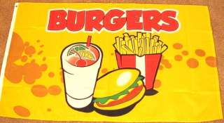 3X5 BURGERS FLAG BANNER FRENCH FRY STAND FAST FOOD F883