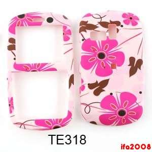 FOR SAMSUNG R355C STRAIGHT TALK R350 FREEFORM PINK FLOWER BROWN CASE