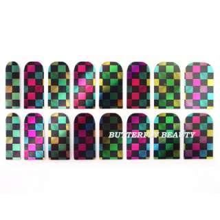 16pcs Nail Art Sticker Colorful Square Patch Foils Manicure Decoration