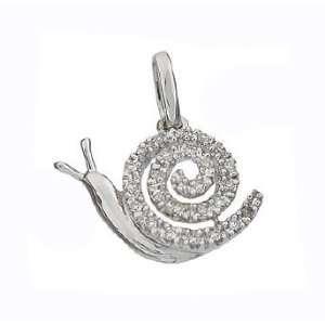 14k Solid Real White Gold Diamond Snail Charm Pendant