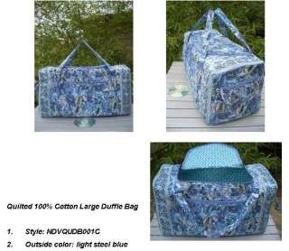 QUILTED COTTON LARGE DUFFLE BAG DUFFEL