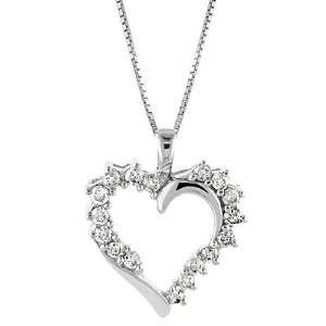 10K White Gold Diamond Heart Pendant with Chain Jewelry